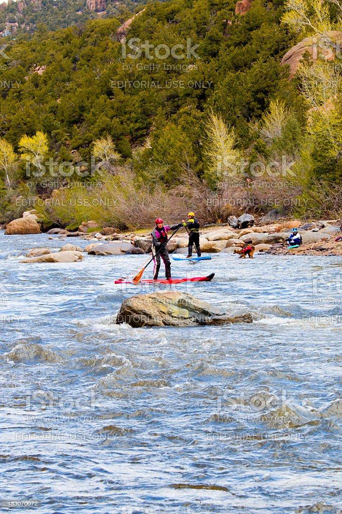 Paddlefest on the Arkansas River in Buena Vista Colorado stock photo