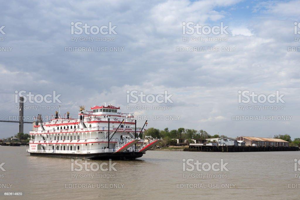 Paddlewheel Boat Cruise on Savannah River stock photo