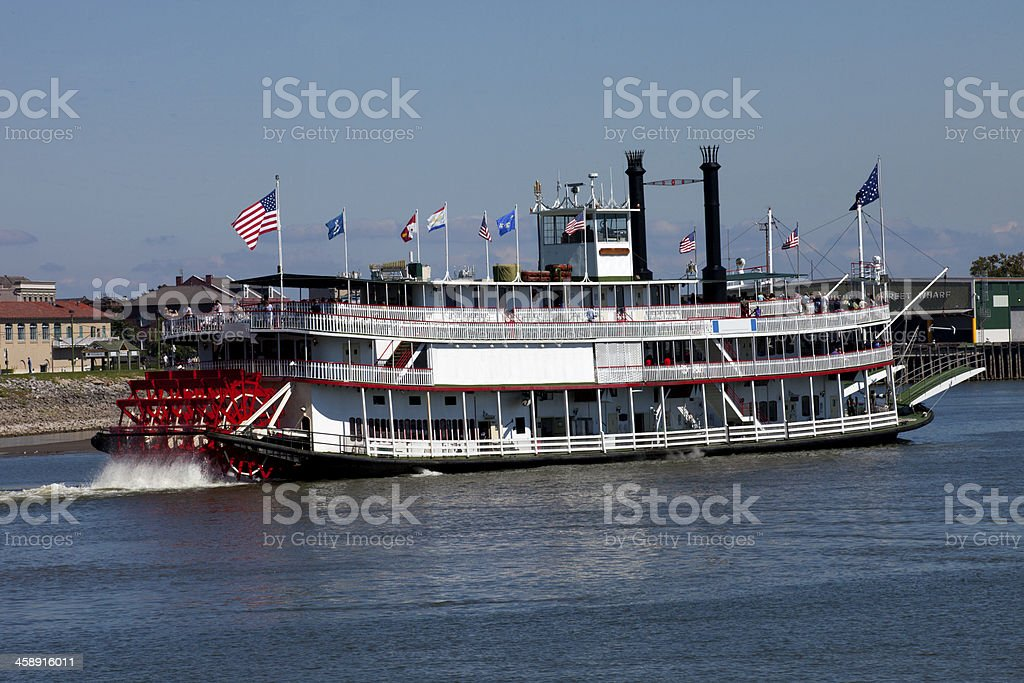 Paddlewheel Riverboat on the Mississippi River stock photo