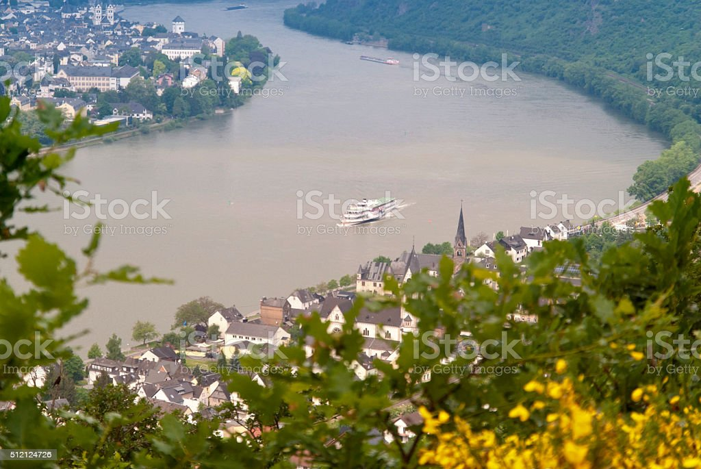 Paddlewheel steamer on the Rhine stock photo