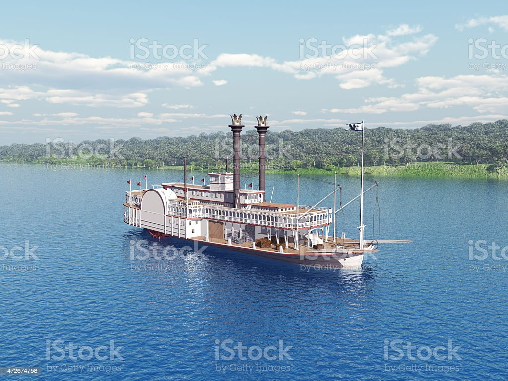 Paddlewheeler steamboat on the Mississippi with blue water stock photo