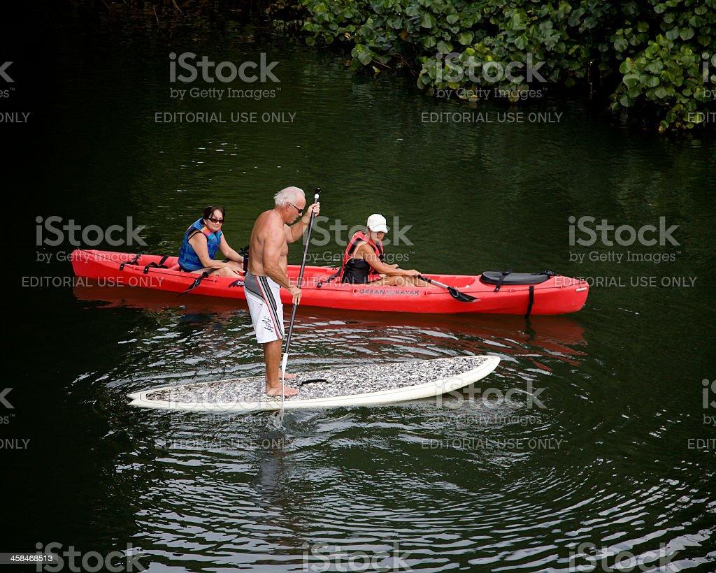 Paddling And Kayaking The Hanalei River Kauai Hawaii stock photo