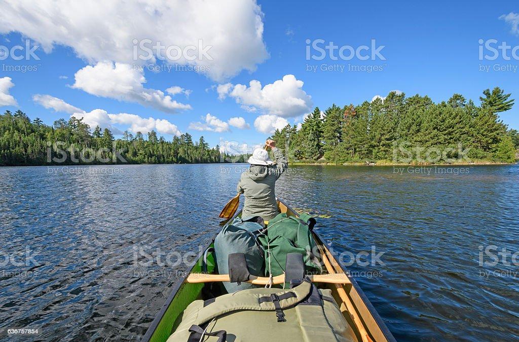 Paddling on a Wilderness Lake stock photo