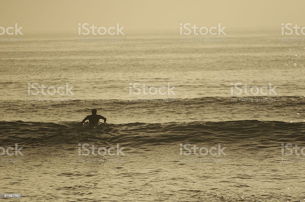 Paddling out royalty-free stock photo