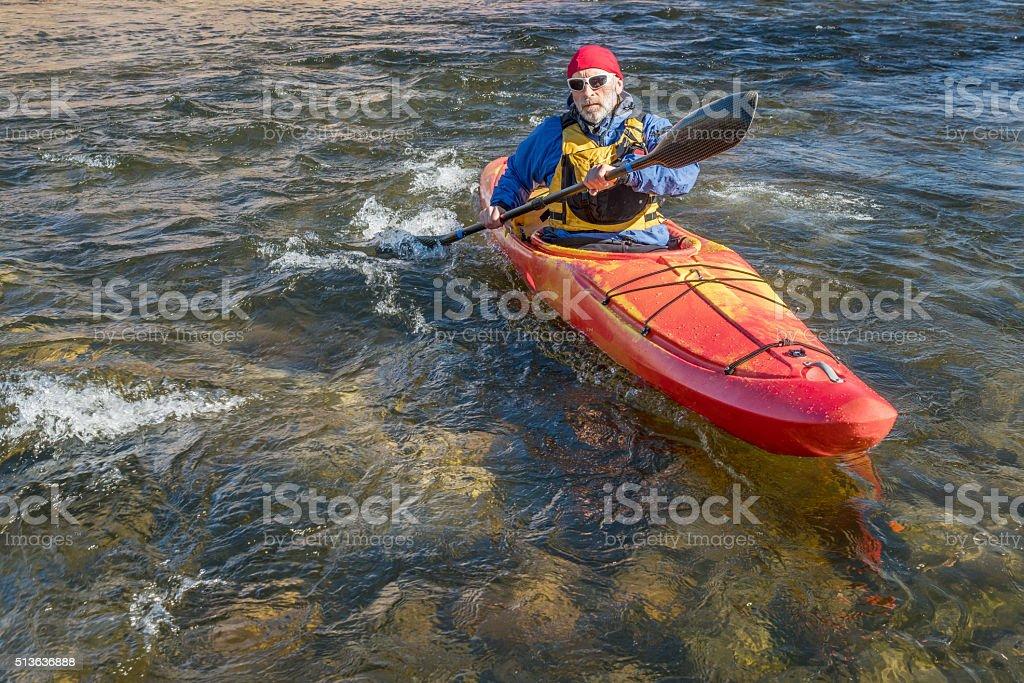paddling river kayak stock photo