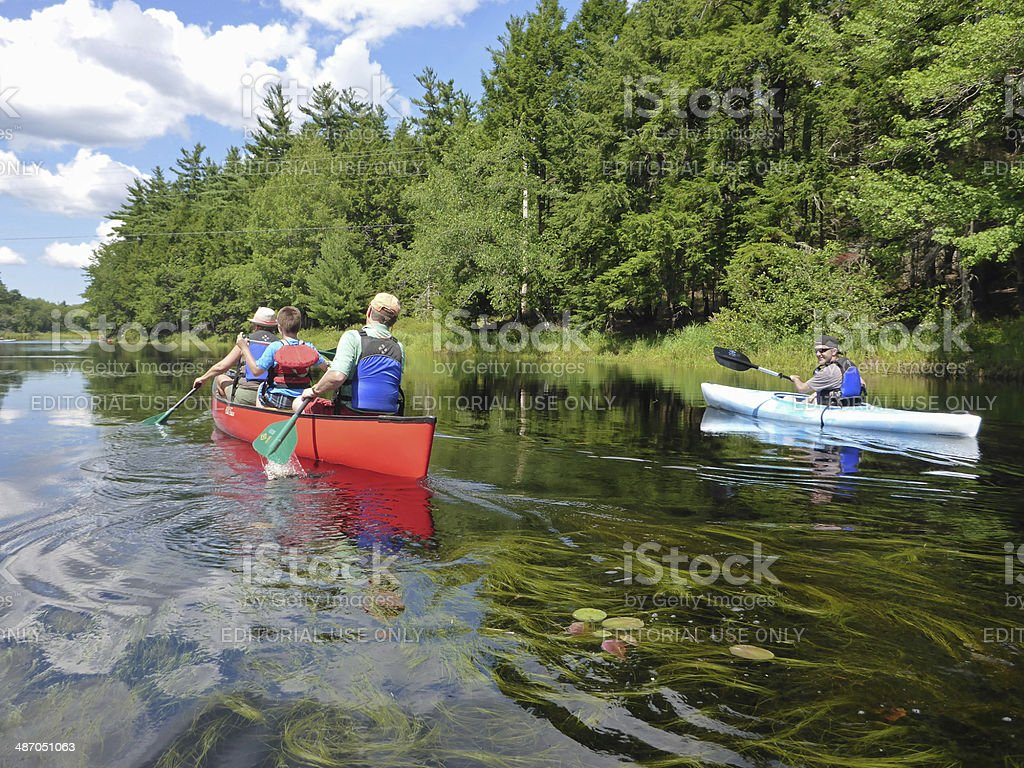 Paddling throught Kejimkujik National Park stock photo
