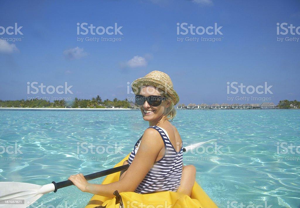 Paddling towards the beach royalty-free stock photo