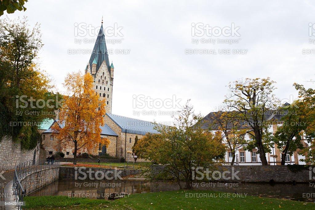 Paderborner Dom seen from Paderquellen in autumn stock photo