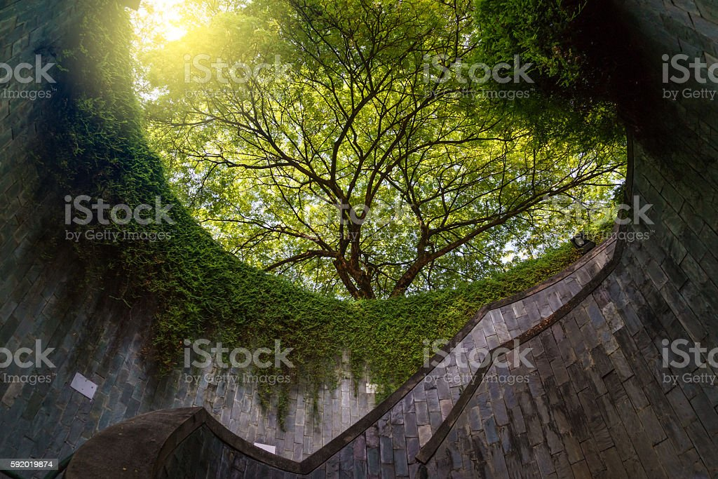 padestrian tunnel in Fort Canning Park, Singapore stock photo