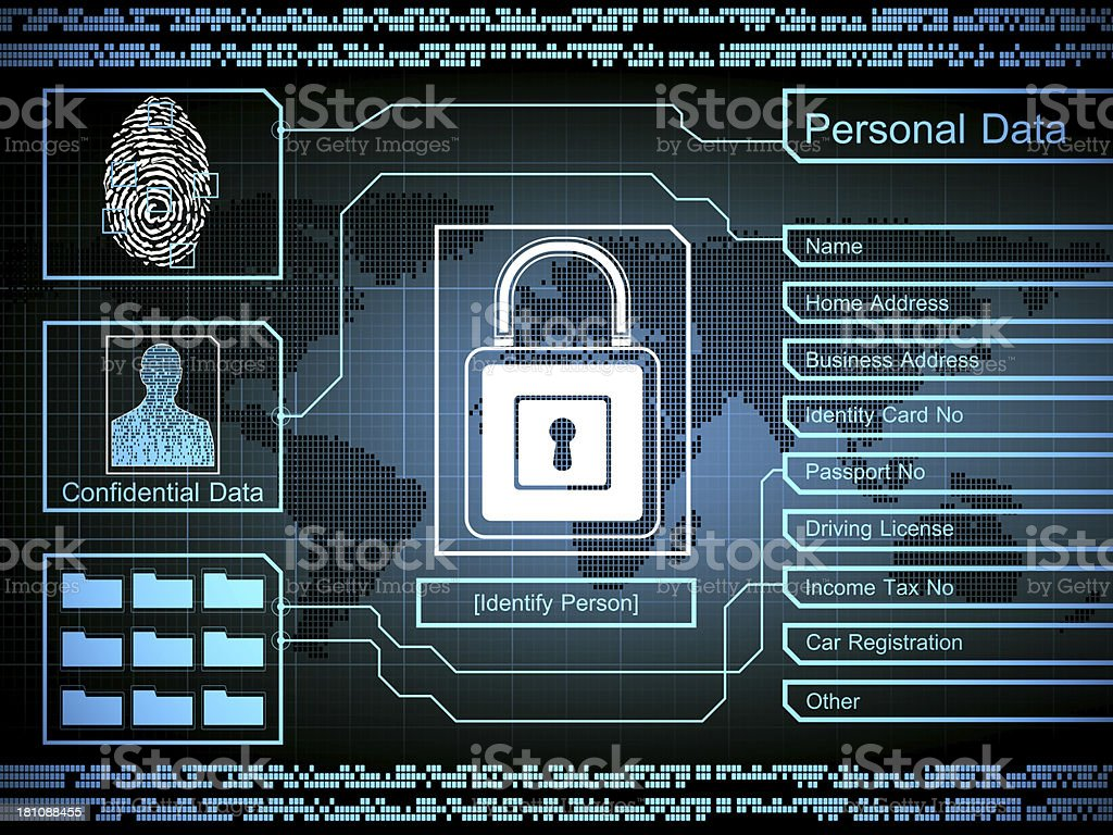 A padlock and finger print security concept royalty-free stock photo