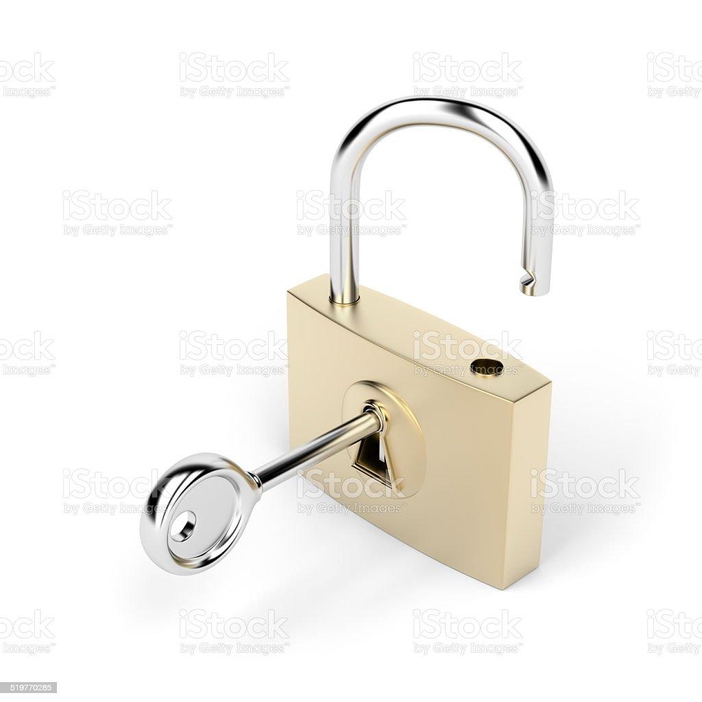 Padlock and key stock photo