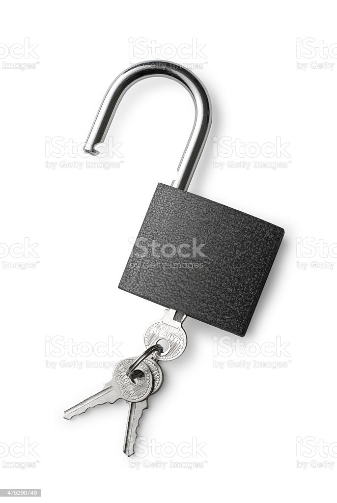 Padlock and keys on a white background stock photo