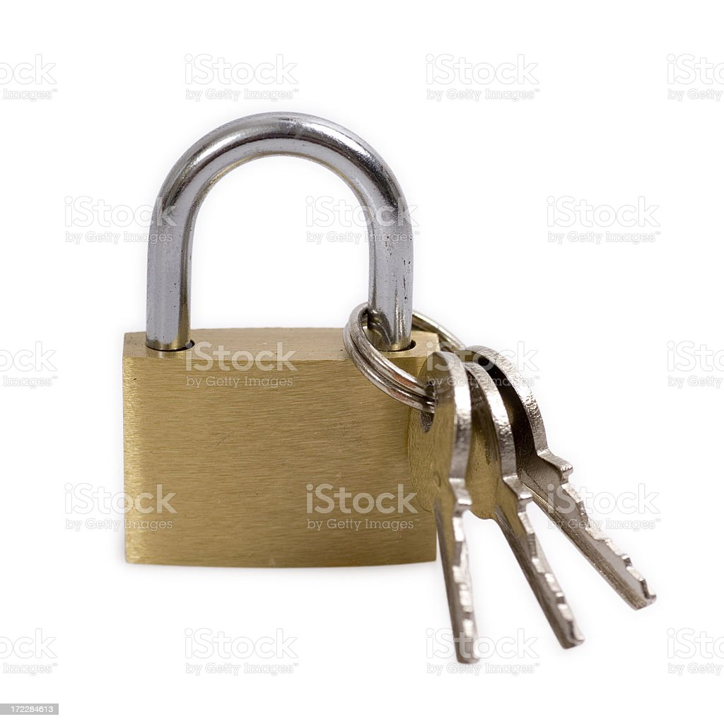 Padlock and keys with clipping path royalty-free stock photo