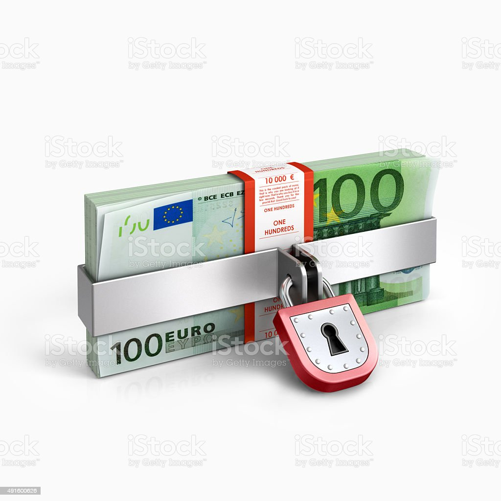 Padlock and money isolated on a white backgroundPadlock and money isolated on a white background stock photo