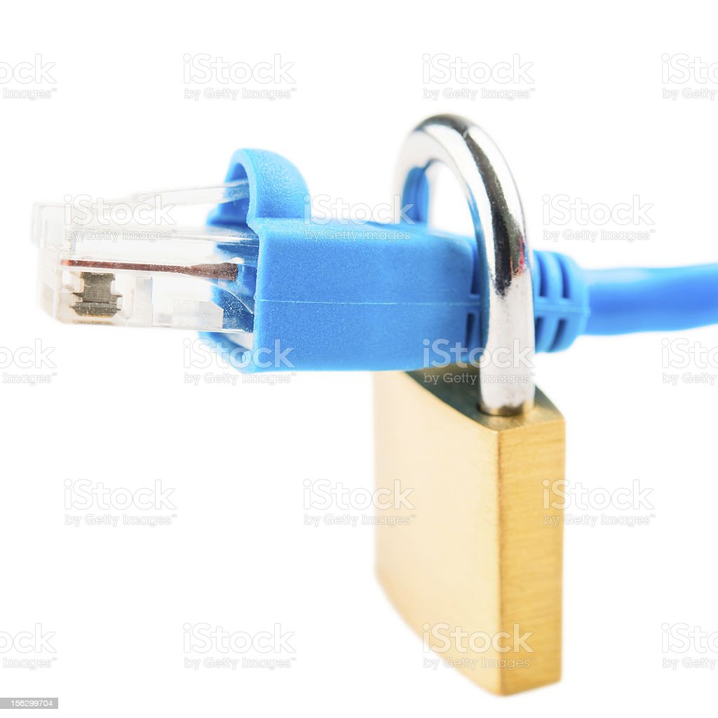 Padlock and network cable royalty-free stock photo
