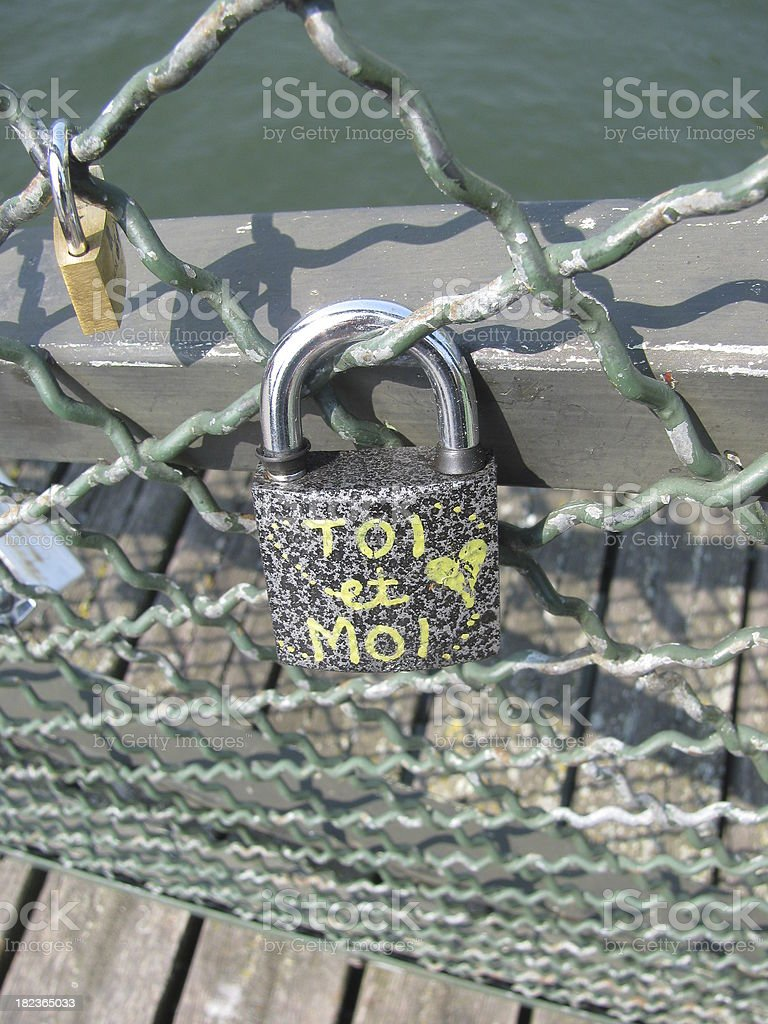 cadenas, amour, attache, toi et moi, love, close stock photo