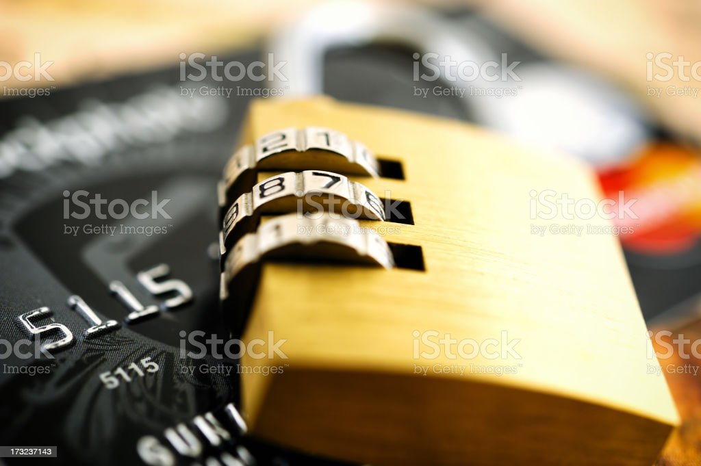 Padlock on a credit card royalty-free stock photo