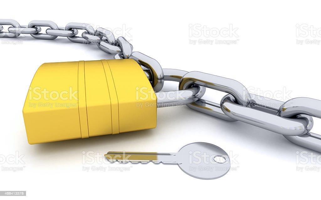 Padlock on Chain stock photo
