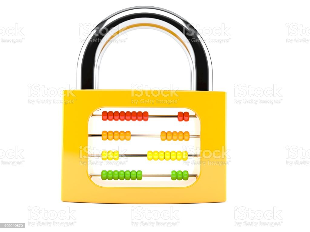 Padlock with abacus stock photo