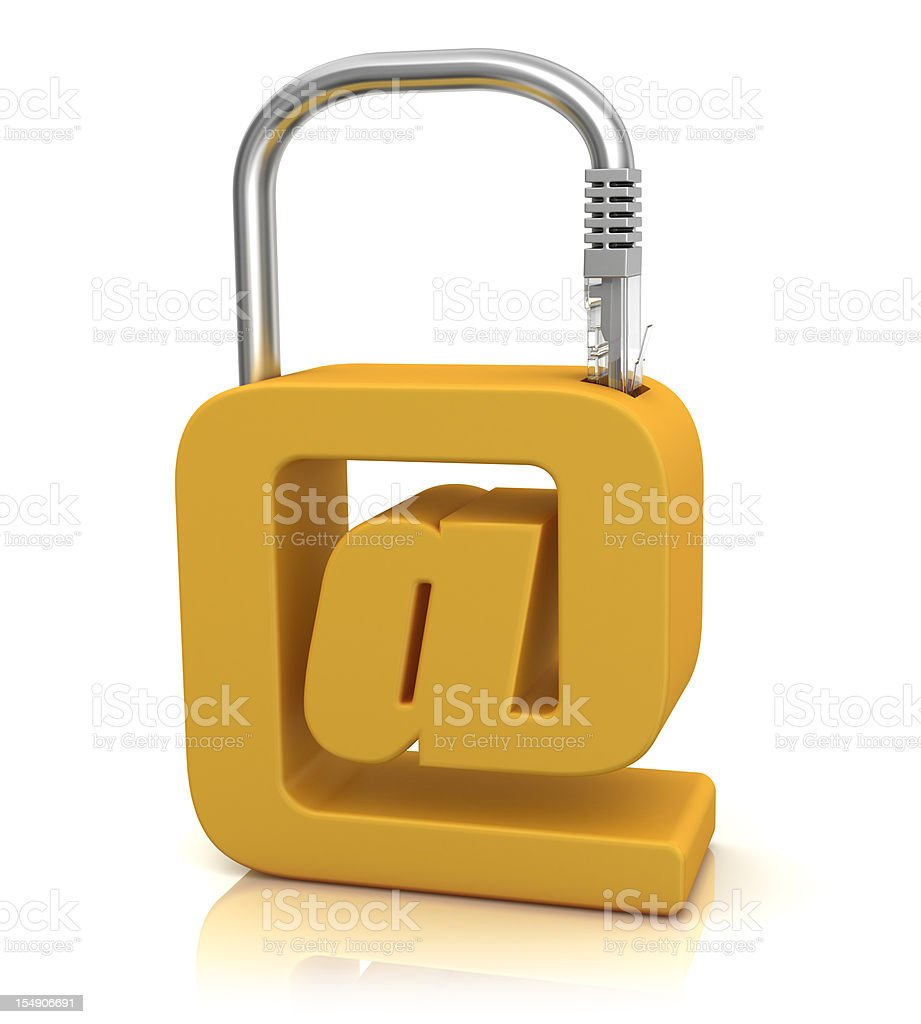 Padlock with Cable stock photo