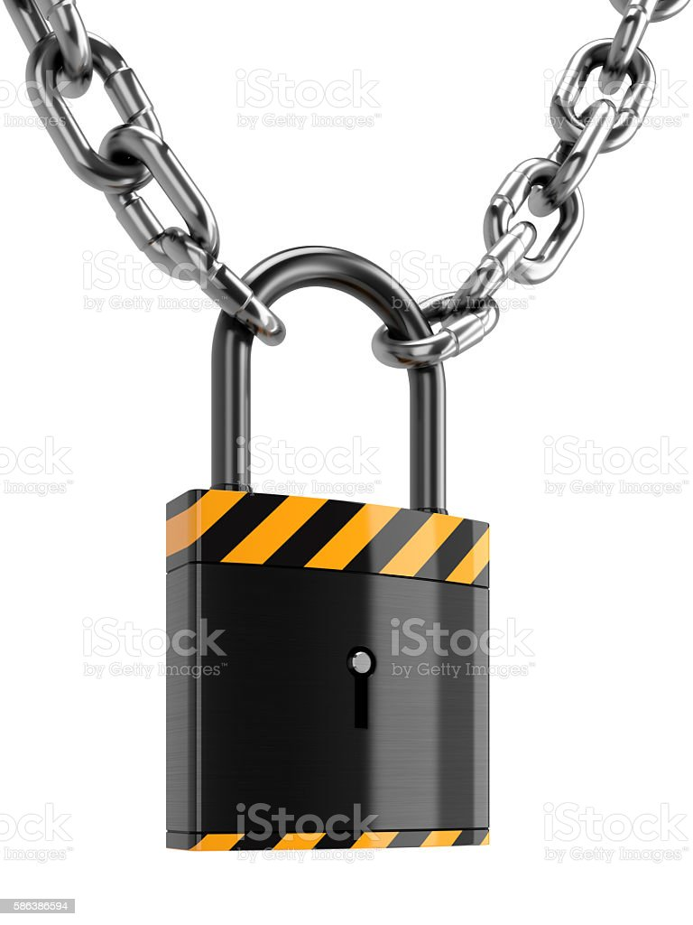 padlock with chains, isolated on white stock photo
