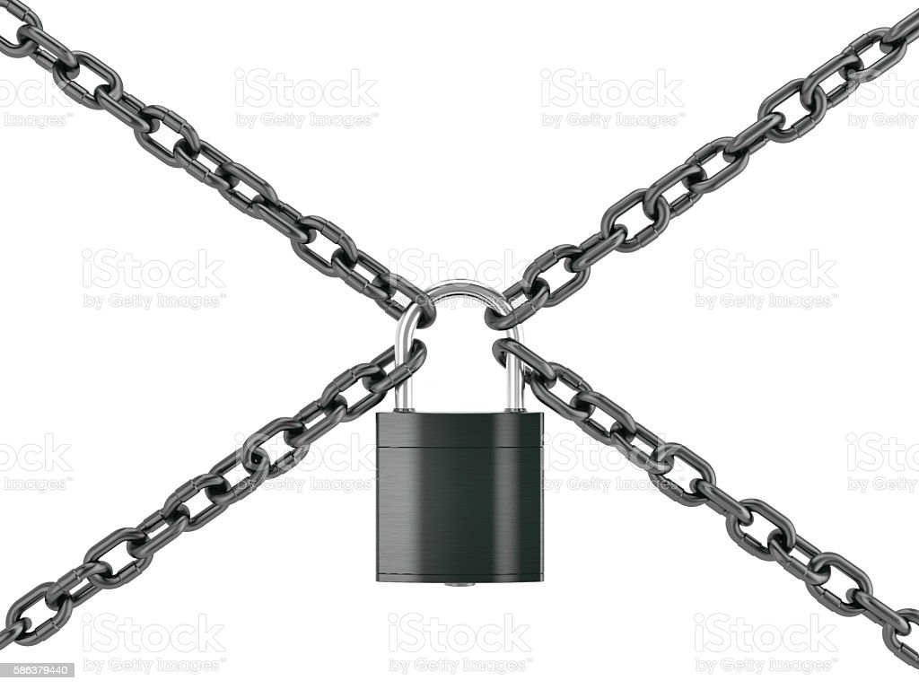 padlock with chains stock photo