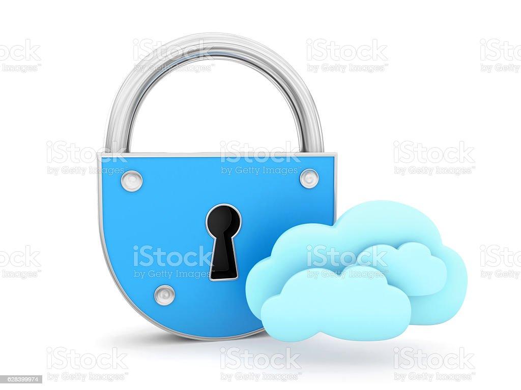 Padlock with cloud stock photo