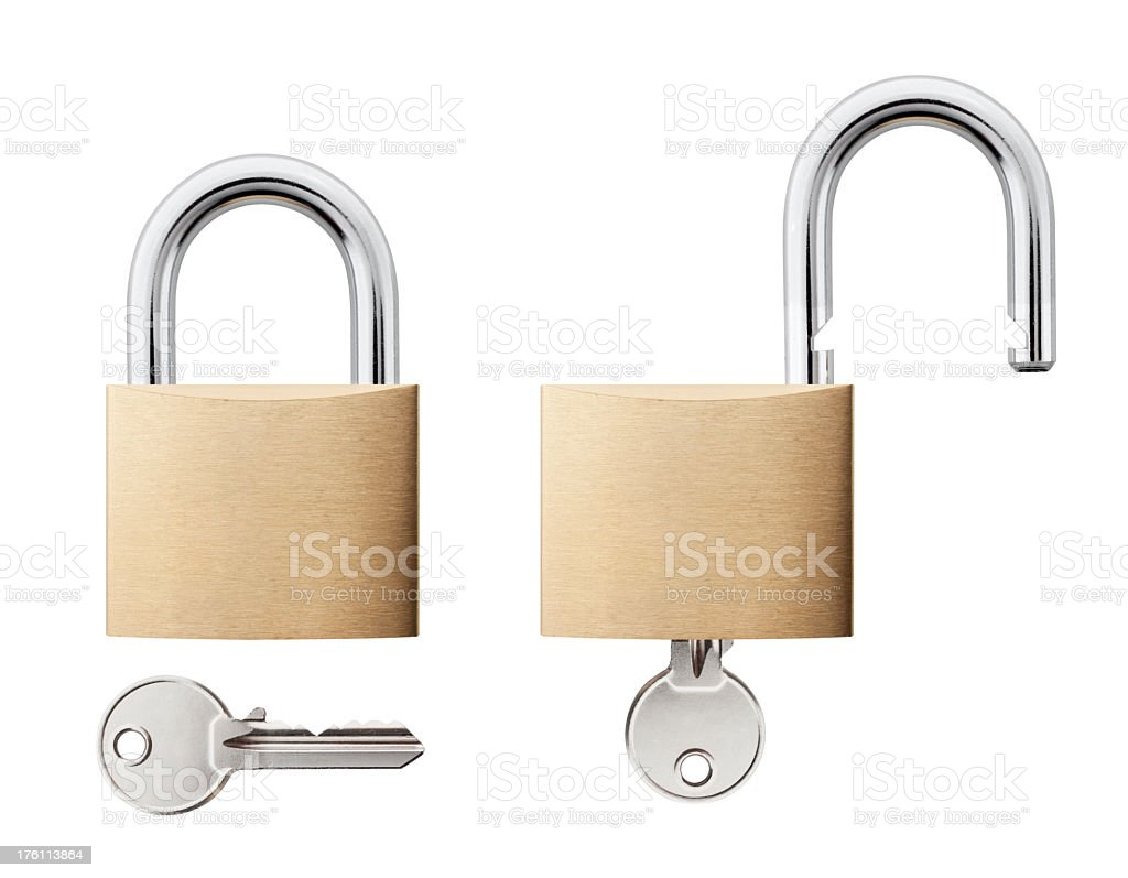 Padlock with key open and closed stock photo