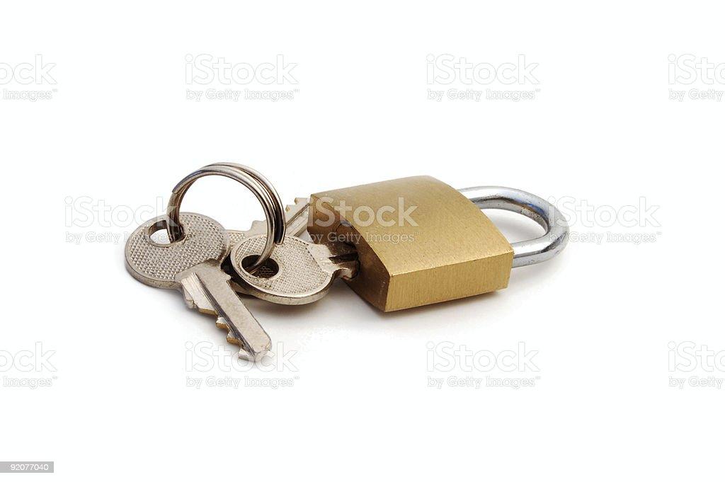 Padlock with key royalty-free stock photo
