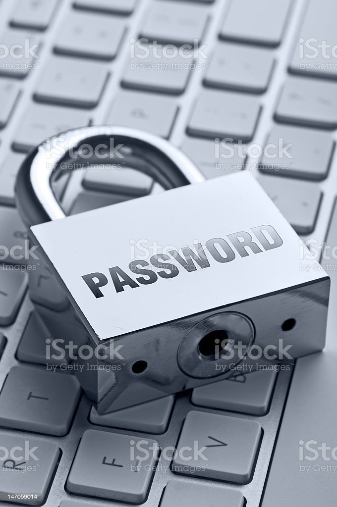 Padlock with Password on a keyboard royalty-free stock photo
