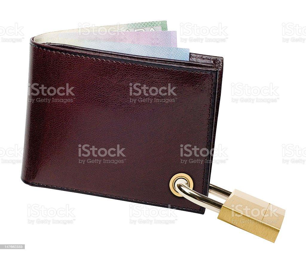 Padlocked Canadian Wallet stock photo