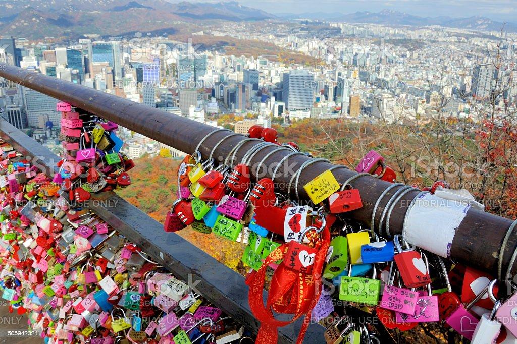 Padlocks at Namsan Seoul Tower stock photo