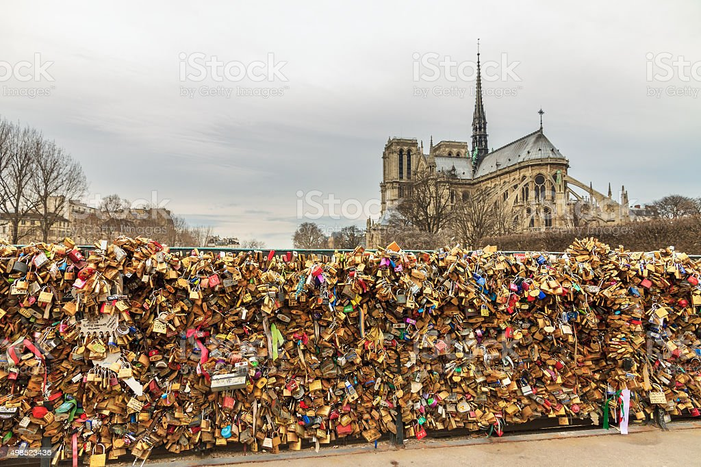 Padlocks at the Notre-Dame stock photo