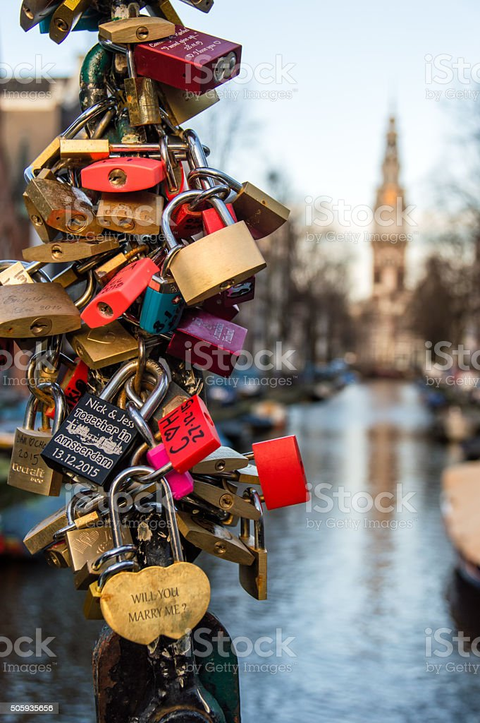 Padlocks in Amsterdam stock photo