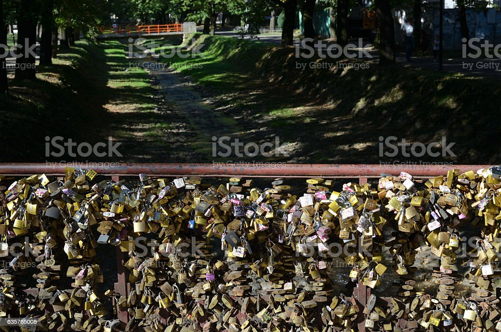 Padlocks on Bridge of Love stock photo