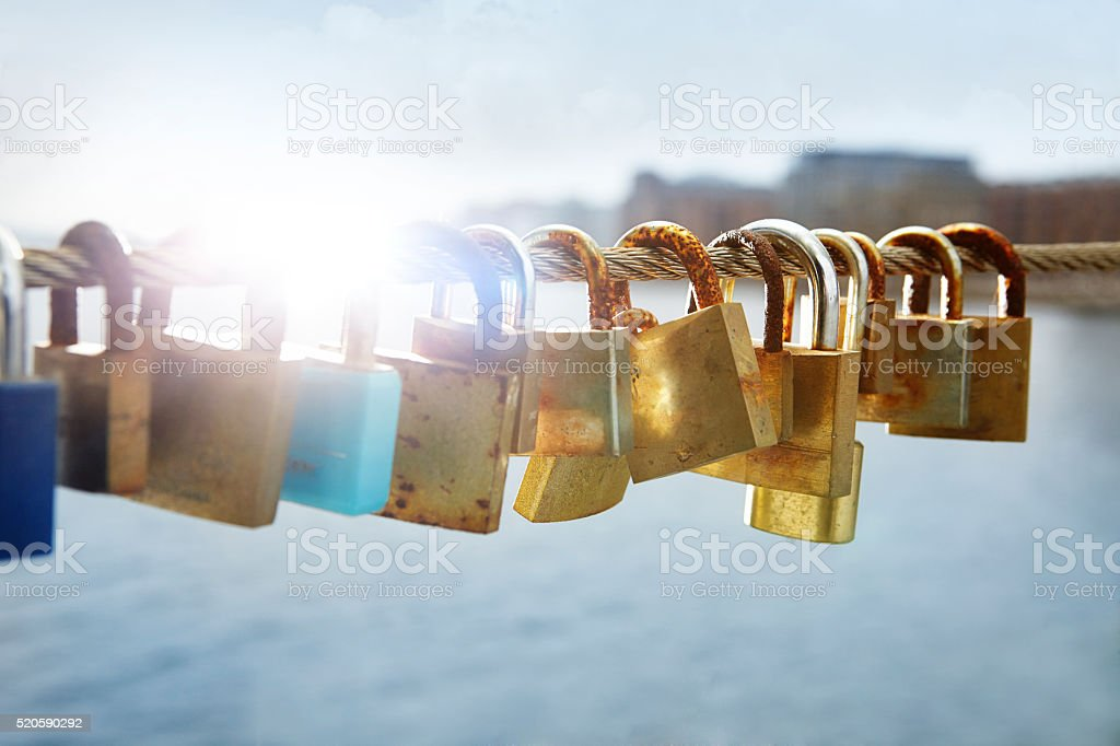 padlocks on wire stock photo