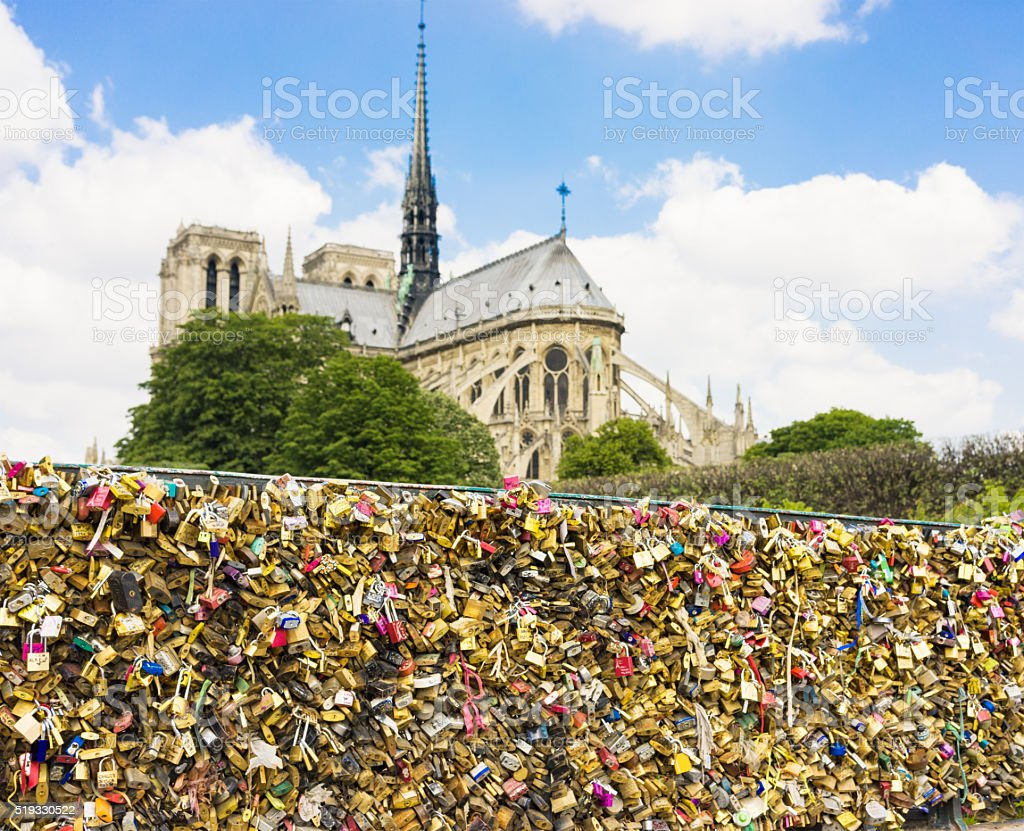 Padlocks representing love in Paris stock photo