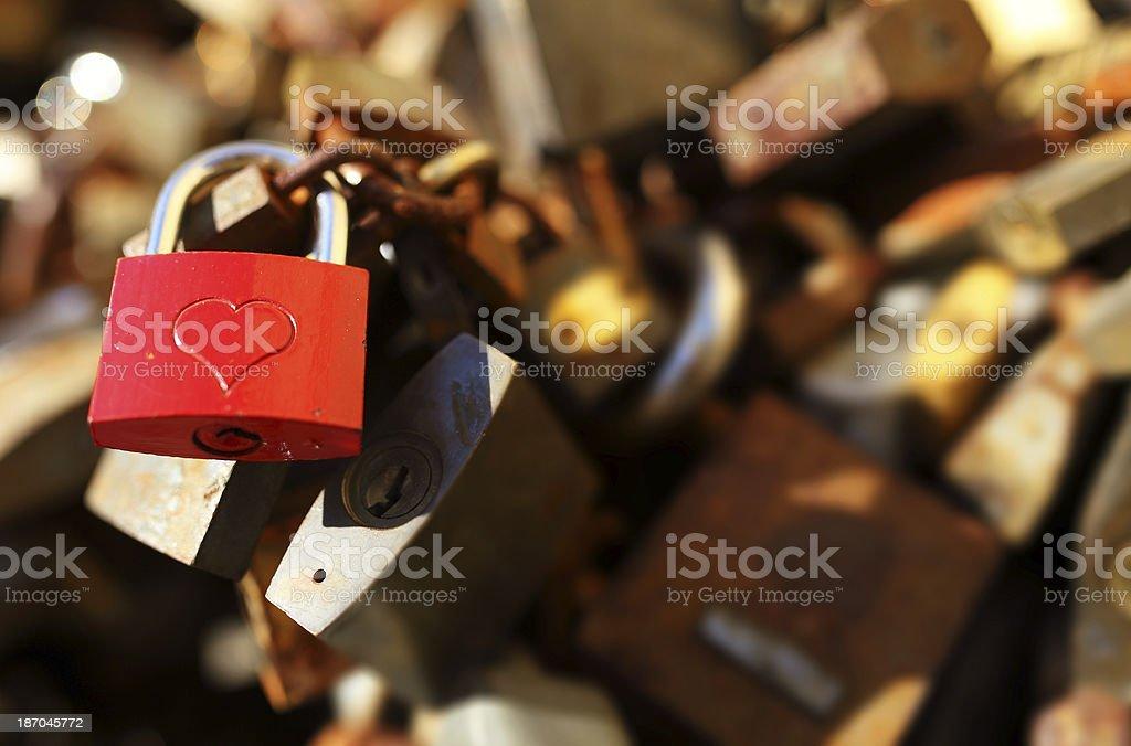 Padlocks with love lock stock photo