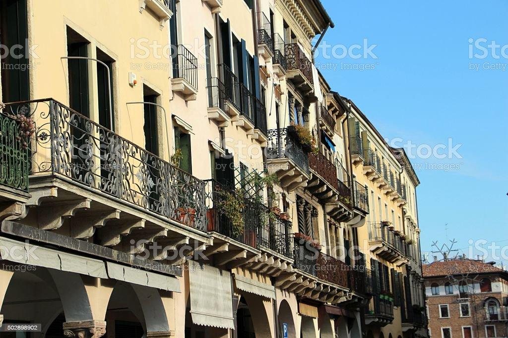 padova - houses in piazza dei signori stock photo