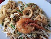 Padthai, Thai fried noodles with king prawn