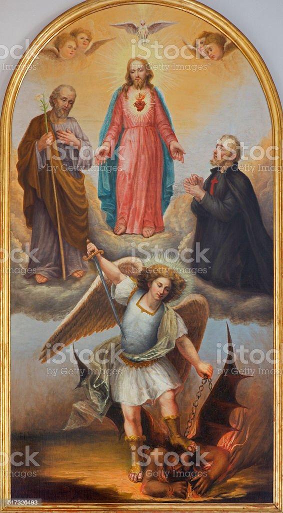 Padua - Heart of Jesus and archangel Michael paint stock photo