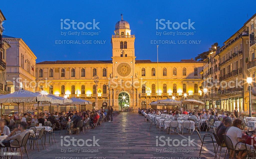 Padua - Piazza dei Signori square at dusk stock photo