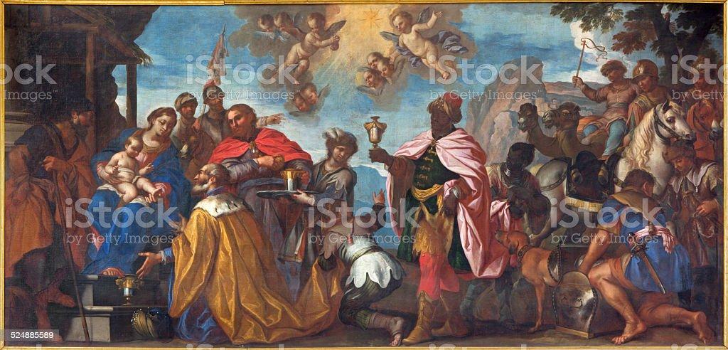 Padua - The Adoration of Magi paint in Duomo stock photo