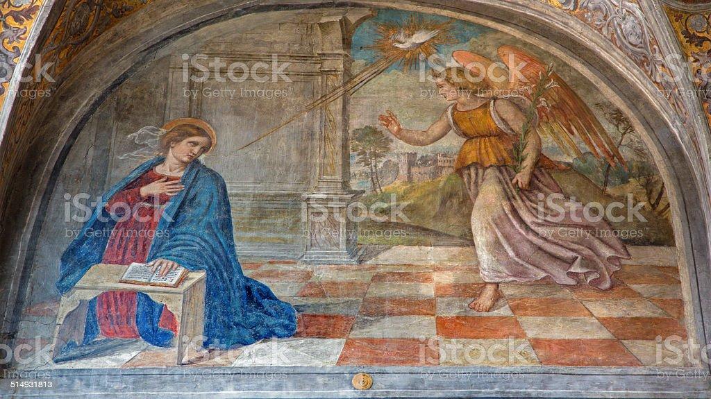 Padua - The Annunciation fresco in church San Francesco stock photo