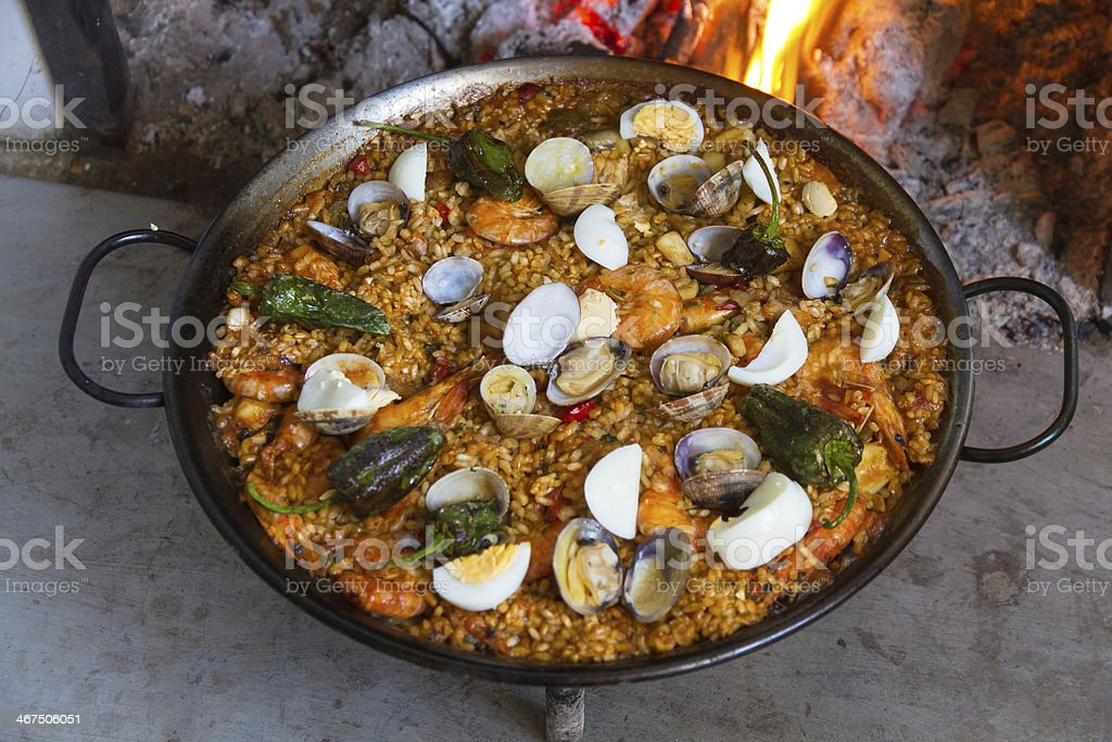 Paella Cooked -Paella cocinada stock photo