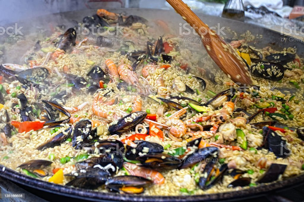 Paella Cooking royalty-free stock photo