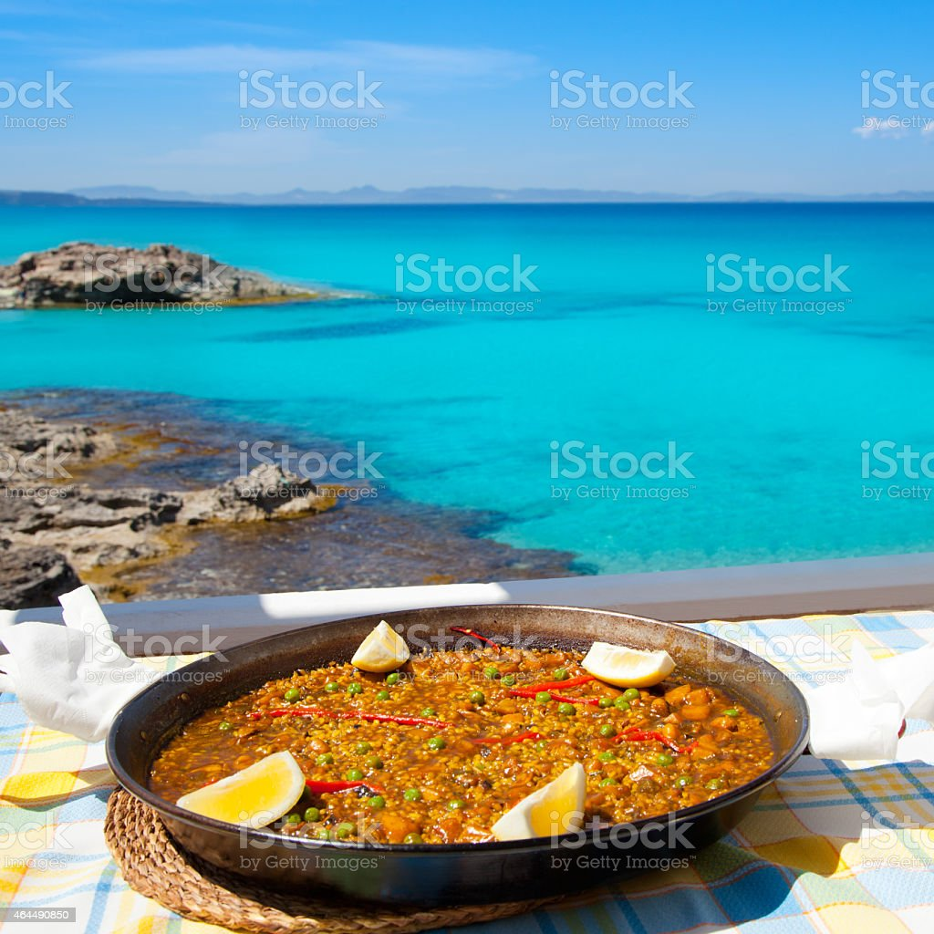 Paella mediterranean rice food in balearic islands stock photo