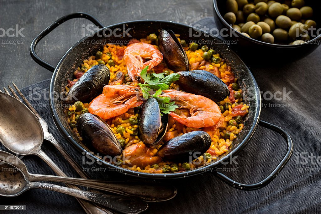 Paella on a table stock photo