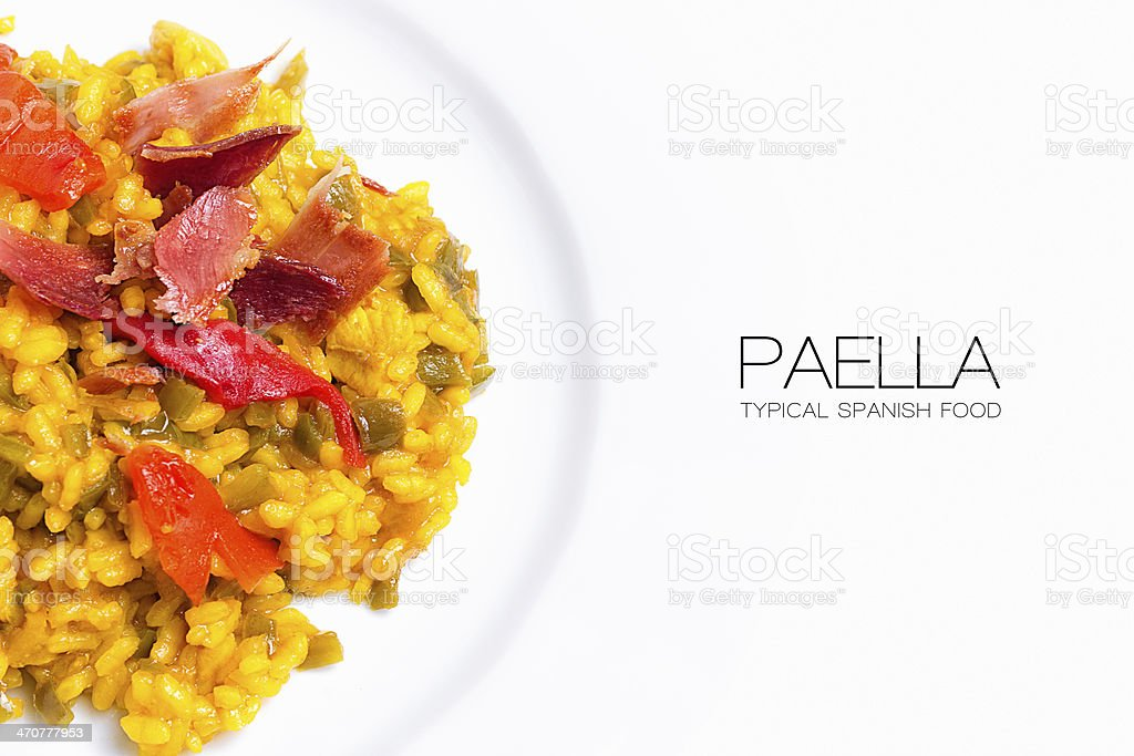 Paella. Typical Spanish Food with sample text stock photo