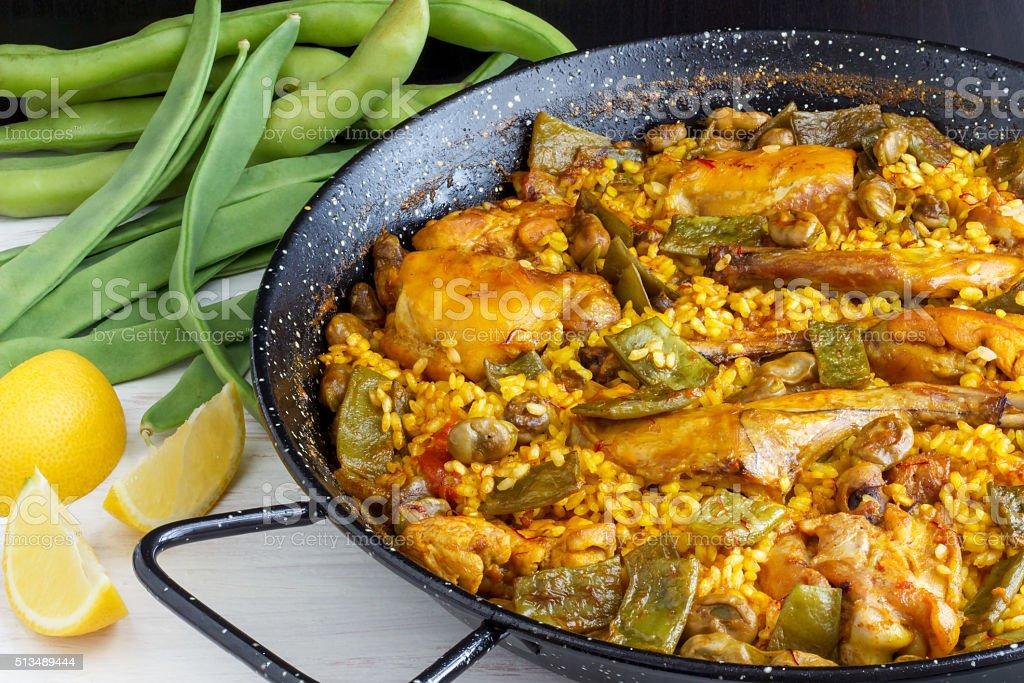 Paella Valenciana - Spanish Food stock photo